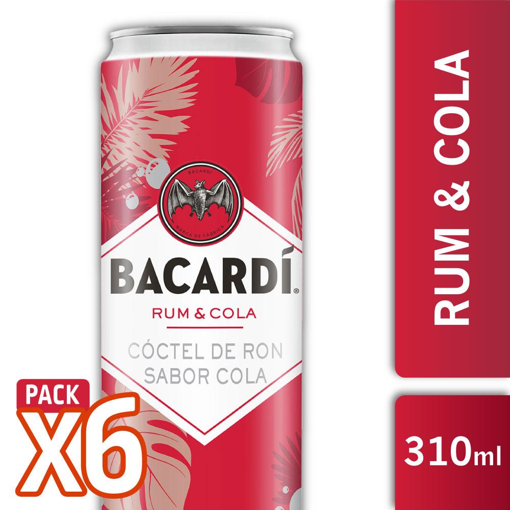 BACARDI RUM & COLA 310ml PACK x6